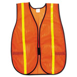 MCR Safety Polyester Mesh Safety Vest, 3/4 in., Lime Green Stripe, One Size Fits All