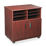 Safco Mobile Machine Stand with Sorter Compartments & Double Door Cabinet, Mahogany