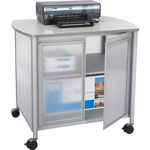 Safco Impromptu Deluxe Machine Stand w/Doors, 34-3/4w x 24-1/4d x 30-3/4h, Silver/Gray