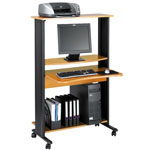 Safco Multimedia Workstation, Oak Shelves/Black Frame