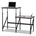 Safco Bi-Level Standing Height Desk, 57 1/2w x 24d x 50h, Walnut/Black