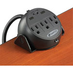"Safco Training Table Power Module, 8"" Cord, USB, Steel Clamp, Black"