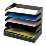 "Safco Steel Trays, Legal, 5-Tier, 15-1/4"" x -5/8"" x 11-1/4"", Black"