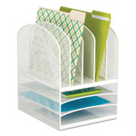 Safco Onyx Mesh Desk Organizer, Eight Sections, 11 1/2 x 9 1/2 x 13, White