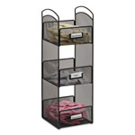 Safco Onyx Breakroom Organizers, 3 Compartments, 6 x 6 x 18, Steel Mesh, Black
