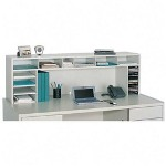 "Safco Wood High Clearance Single Shelf Desktop Organizer, 57 1/2""w, Gray"