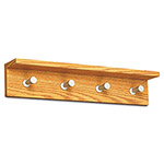 "Safco Contempo Wall Coat Rack w/Integrated Shelf, 24"" x 4"" x 4-5/8"", Medium Oak"