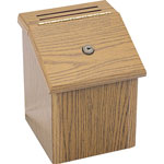 "Safco Wood Suggestion Box, Latch Lid Key Lock, 7-3/4"" x 7-1/2"" x 9-3/4"", Oak"