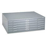 Safco Five Drawer Steel Flat File, Stackable, For Sheets to 43 x 32, Gray
