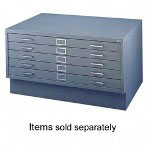 "Safco Five-Drawer Flat File, 53"" x 41"" x 16"", Gray"
