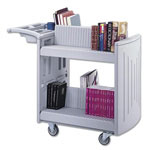 "Safco Two Sided Molded Slant Shelf Cart, 4"" Casters, 45wx22 7/8dx37 1/2h, Light Gray"