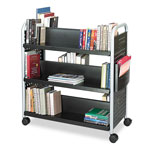 Safco Scoot Double-Sided Steel Book Cart, Six Shelves, 40w x 17-1/4d x 41-1/2h, Black