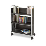 Safco Scoot One-Sided Steel Book Cart, Three Shelves, 32-1/2w x 13-3/4d x 45h, Black