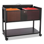 Safco Locking File Cart with Single Shelf, Black