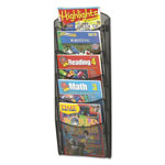 "Safco Black Mesh Magazine Rack with 5-Pockets, 9 3/4"" x 3 1/2"" x 28"""