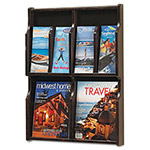 Safco Expose Adj Magazine/Pamphlet 4-Pocket Display, 20w x 2-1/2d x 26-1/4h, Mahogany
