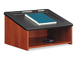 Safco Tabletop Lectern With Open Storage Area, 23-7/8w x 18-1/2d x 13-3/4h, Cherry