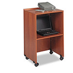Safco Mobile Lectern Base/Media Cart, 21-1/4w x 17-1/2d x 33-3/4h, Cherry
