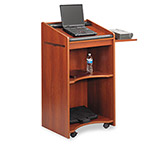 Safco Executive Mobile Lectern With Pull-Out Shelf, 25 1/4w x 19-3/4d x 46h, Cherry