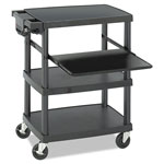 Safco 85lb Capacity Three Shelf Multimedia Cart, 27-3/4 x 18-1/2 x 36-3/4, Black
