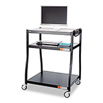 Safco 150lb Capacity Three Shelf Wide Base AV Cart, 34 3/4 x 27-1/2 x 54, Black