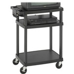 Safco 80lb Capacity Three Shelf Height Adjustable AV Cart, 27-1/2 x 18-1/2 x 42, Black