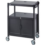 "Safco Av Cart w/Cabinet, Adjustable, 24"" x 18"" x 42"", Steel/Black"