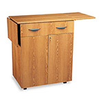 Safco Hospitality Service Cart with Drop Leaves, Drawer & Locking Cabinet, Medium Oak