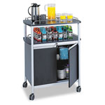 Safco Mobile Beverage Cart with Locking Cabinet, Black/Metallic Gray