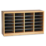 Safco Wood Literature Organizer, 24 Compartments, Medium Oak Laminate