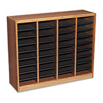 Safco Wood Literature Organizer, 36 Compartments, Medium Oak Laminate