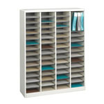 Safco Wood Literature Organizer, 60 Compartments, Gray Cabinetry