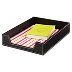 Safco Desk Tray, Single Tier, Leather Look, Letter, Black