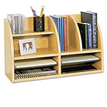 Safco Radius Front 8 Compartment Desktop Organizer, Medium Oak