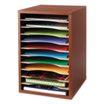 Safco Wood Vertical Desktop Literature Sorter, Cherry