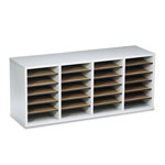 Safco Wood Literature Organizer, 24 Adjustable Compartments, Gray