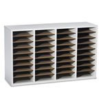 Safco Wood Literature Organizer, 36 Adjustable Compartments, Gray