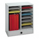 Safco Wood Literature Organizer, 14 Adjustable Compartments/1 Drawer, Gray