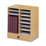 Safco Wood Literature Organizer, 14 Adjustable Compartments/1 Drawer, Medium Oak