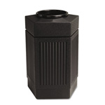 Safco Trophy CollectionHexagonal In/Outdoor Waste Receptacle, 30 Gallon, Black