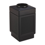 Safco Trophy Collection Top Open Waste Receptacle, 38 Gallon, Black
