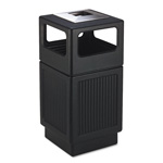 Safco Trophy Collection Ash Urn Side Open Waste Receptacle, 38 Gallon, Black