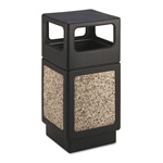 Safco Trophy Collection Side Open Receptacle, 38 Gallon, Aggregate, Black/Ivory