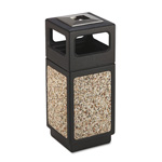 Safco Trophy Collection Ash Urn Waste Receptacle, 15 Gallon, Aggregate, Black/Ivory