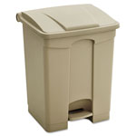 Safco Large Capacity Plastic Step-On Receptacle, 17 gal, Tan