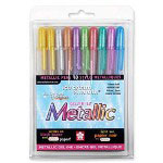 Sakura Gel Pen, Water/Fade Proof, 1.0mm Med Line, 5/PK, Metallic Ast.