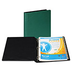 "Samsill 44% Recycled Heavy Duty Locking Round Ring Binder, 1"" Capacity, Green"