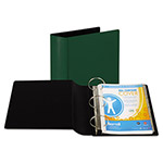 "Samsill 44% Recycled Heavy Duty Locking Round Ring Binder, 4"" Capacity, Green"