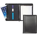 Samsill Genuine Leather Padfolio with Zipper and 8 1/2 x 11 Writing Pad, Black
