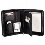 Samsill Zippered, Jr. Size Duo Pad Holder with PDA & Phone Pockets, Black